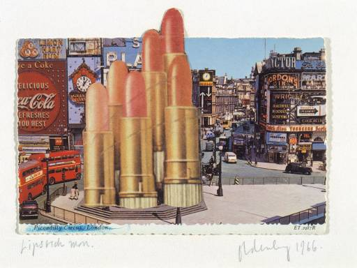 Claes Oldenberg's proposed lipstick monument in Piccadilly Circus, 1966