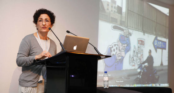 Cairo-based historian and artist, Huda Lufti, delivers the second reflection on media&#39;s powerful role in recent and current political upheavals. (Photo courtesy Art Dubai)