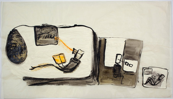 Mira Schor, Time (2011), Ink and gesso on linen, 24 x 41 inches.